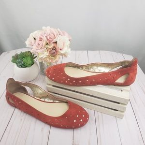 Nine West Red Orange Cutout NW Marie Flats 9.5